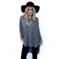 This Is Real Knit Sweater Top In Charcoal