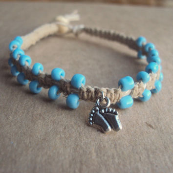 Baby Footprint Bracelet It's a Boy Baby Shower Gift Mom to be