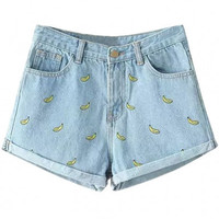 Light Blue Banana Embroidered Denim Shorts