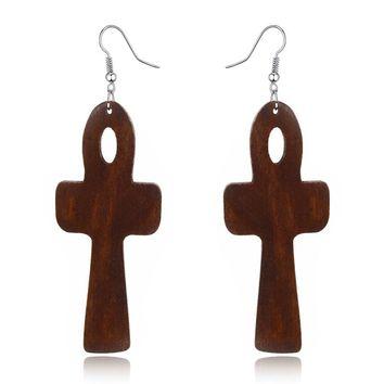 Wooden Egyptian Ankh Earrings