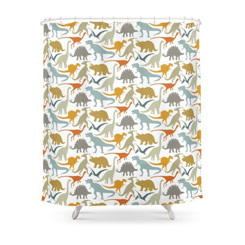 Society6 Dinosaur Friends Shower Curtains