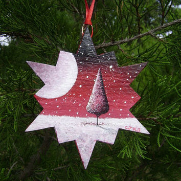 Moonlight Snowfall in Cherry Red - Hand Painted Christmas Ornament