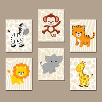 BOY Animal Wall Art Boy Animal Nursery Jungle Safari Animals Baby Boy Nursery Wall Art Boy Bedroom Wall Art Boy Nursery Decor Boy Set of 6