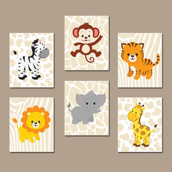 BOY Animal Wall Art Boy Animal Nursery Jungle Safari Animals Baby Boy Nursery  Wall Art Boy