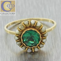 1880s Antique Victorian 14k Solid Yellow Gold 1ct Green Emerald Seed Pearl Ring