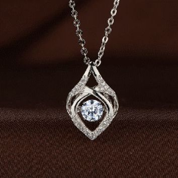Curved Rhombus Shaped Swarovski Crystal Necklace