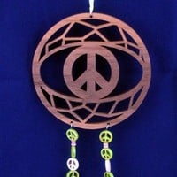Peace Sign Dream Catcher With Peace Beads Handmade Walnut Wood