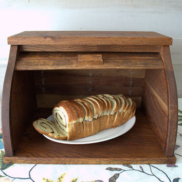 Large Wood Bread Box, Wooden Bread Holder, Tall Roll Top Bread Keeper, Rustic Oak Bread Bin