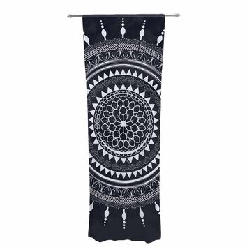 "Famenxt ""Boho Aegean Blue Mandala"" Gray White Decorative Sheer Curtain"