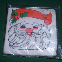 Christmas Santa Napkins Paper  New Old Stock In Package by Monogram Vintage Mid Century