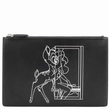 Medium Pouch Bambi© printed leather clutch