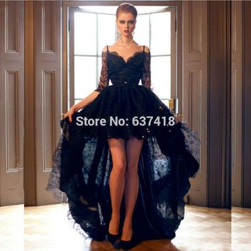 Short Front Long Back Black Lace High Low Prom Dress Cocktail Dress Homecoming Dress with Sequins Mid Sleeves Spaghetti Straps