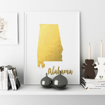 Alabama Map Gold Foil USA STATE Gold Foil Print Gold Print Map Custom Print in Gold Illustration Art Print Map of Alabama Gold Foil Print