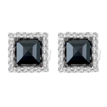 14K White Gold 1 1/4 CTTW Round and Treated Black Princess-cut Diamond Stud Earrings