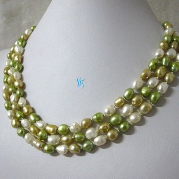 "50"" 6-8mm White Champagne Green Baroque Freshwater Pearl Necklace"