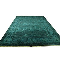 10x14 Forest Green Rug Turkish Handmade Overdyed Wool Pile 2940