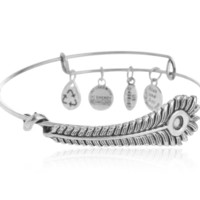Alex and Ani Feather pendant charm bracelet,a perfect gift !