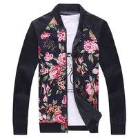 New Jeansian men's Winter Korean floral stand collar jacket XL XXL XXXL 4XL 2 Colors  K_MCC048 = 1958234628