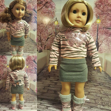 "18 inch doll clothes ""Pink Dazzle"" 18 inch doll outfit ensemble will fit American Girl pink & gray Liberty Jane Pattern  D9"