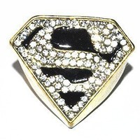JE263 Superman Ring, Triangle Ring, Gold Ring, Diamond Ring, Fashion Jewelry