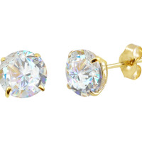 14k Yellow Gold Stud Earrings Clear Round Cubic Zirconia Basket Set