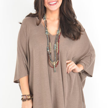 Mocha Poncho Style Top with V-Neckline and Asymmetrical Hem