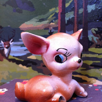 kitsch, china fawn figurine!! Vintage deer ornament!