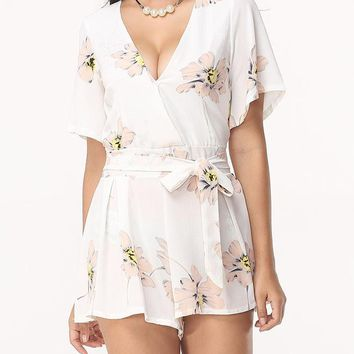 Streetstyle  Casual Floral Printed Loose Fitting Exquisite Rompers