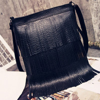 Black Tassel Embellished PU Shoulder Bag