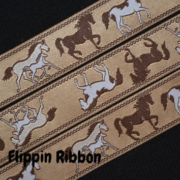 Horses with Colt Ribbon, 2 yards, 3/4 inch Jacquard
