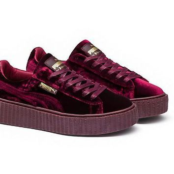 Fenty Rihanna Puma Creepers Burgundy Mens Womens Velvet Shoes