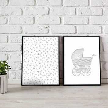 Baby wall decor, Kids printable wall art, Grey wall art, Vintage baby shower, Vintage nursery decor, Wall art kids, Gender neutral baby gift