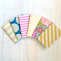 Notebooks: 6 Tiny Journals, Small Notebooks, Geometric, Party, Yellow, Cute, Kids, Gift, Unique, Mini Journals, Party Favors, Wedding, T123