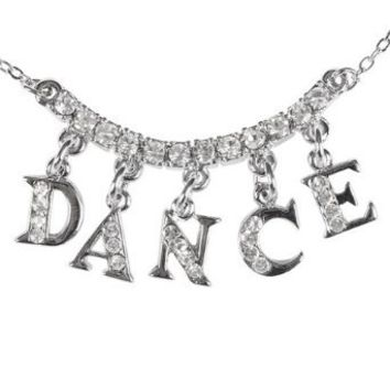 """Rhinestone """"DANCE"""" Charm Necklace,2736A,multi-colored,One-Size"""