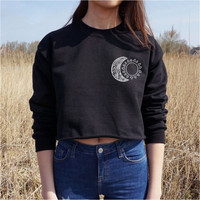 Tribal Moon and Sun Print Long Sleeve Sweatshirt
