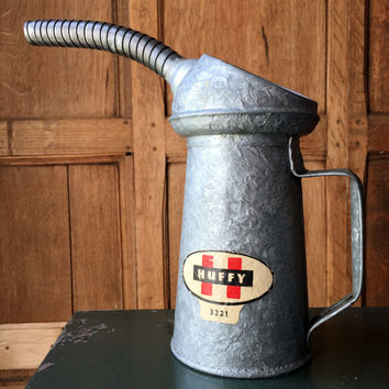 Vintage Huffy Oil Can, Galvanized Oil Can, 1 Quart Oil Can, Galvanized Watering Can