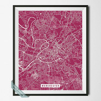 Manchester Map Print, England Poster, Manchester Street Map, England Print, United Kingdom, Home Decor, Wall Art, Back To School