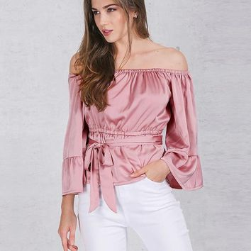 Apparel sexy off shoulder ruffle bow blouse shirt Soft satin flare sleeve tops Elegant party women blouses