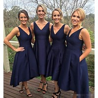 Newly Custom Made Short Bridesmaid Dress V-Neck Sleeveless Zipper Tea-Length Satin With Pockets A-Line Wedding Party Dresses