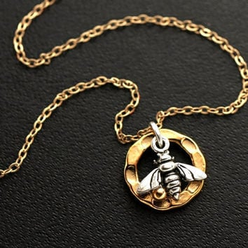 Bee Necklace, Gold Bee Necklace, Gold Circle Necklace, HOME SWEET HOME, Sterling Silver Bee and 14k Gold Filled Chain
