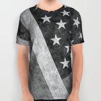 American flag - retro style in grayscale All Over Print Shirt by Bruce Stanfield