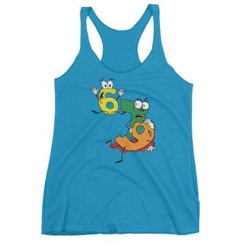 Why was 6 Afraid of 7 Seven Ate Nine Cute Zombie Pun Women's tank top