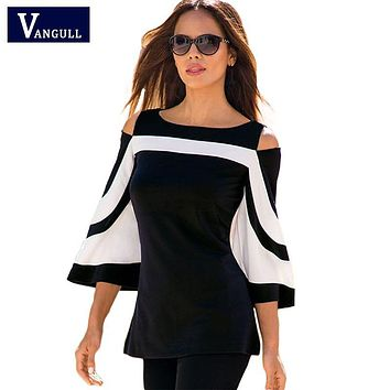 Women Blouse Black White Colorblock Bell Sleeve Shirt Cold Shoulder Top Mujer Camisa Feminina Blusas Office Ladies Clothes Tops