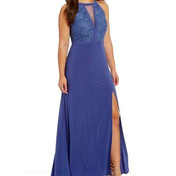 Morgan & Co. Plus Sequin Lace Bodice Long Dress | Dillards