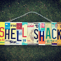 Shell Shack License Plate Art- Birthday Gift for her- Recycled License Plate- Beach Decor- Beach House Art. Beach House Gift.
