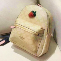 Coach fashion women's strawberry print backpacks are hot sellers