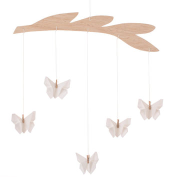 Baby mobile / Fabric Oriagmi White Butterfly / Nursery decoration / Room decor / Baby crib / white fall / christmas gift