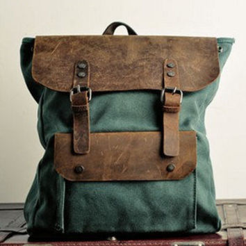 Green  Genuine Cow leather bag canvas bag BACKPACK  Leather Briefcase / leather  Messenger bag / Laptop bag / Men's leather canvas Bag(6876)