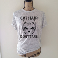 cat hair dont car, cat, cat shirt, tank top, cat lover, kitten shirt, meow shirt, kitty shirt, cat tee, gift for cat lover, cat