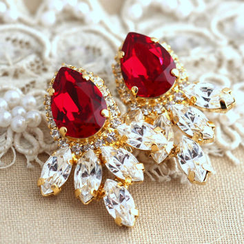 Ruby Red Swarovski earrings, Ruby crystal teardrop earrings, Bridal jewelry, Estate earrings, Halo earrings, 14 k Gold plated Ruby earrings.